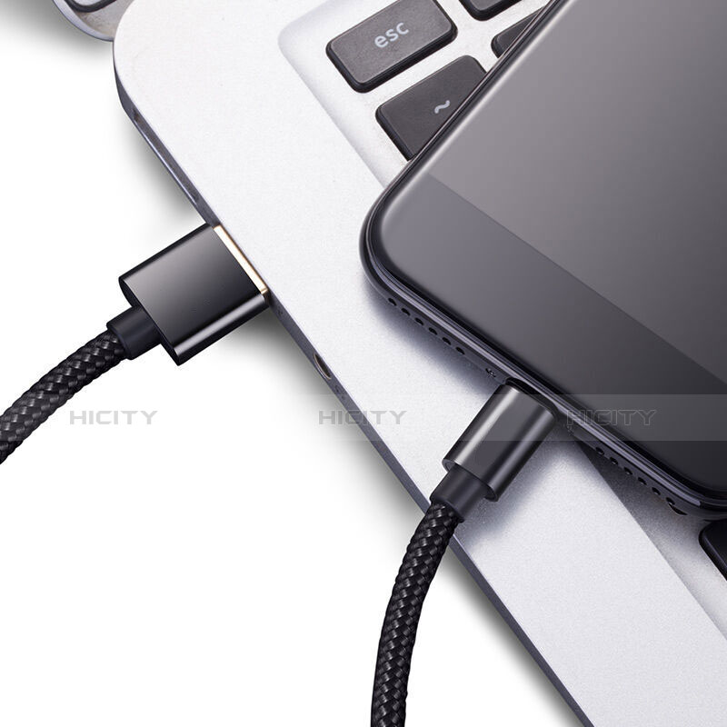 Cargador Cable USB Carga y Datos L02 para Apple iPhone 11 Pro Negro