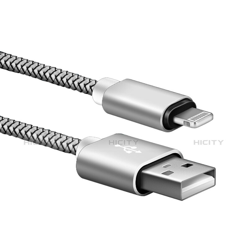 Cargador Cable USB Carga y Datos L07 para Apple iPhone 11 Plata