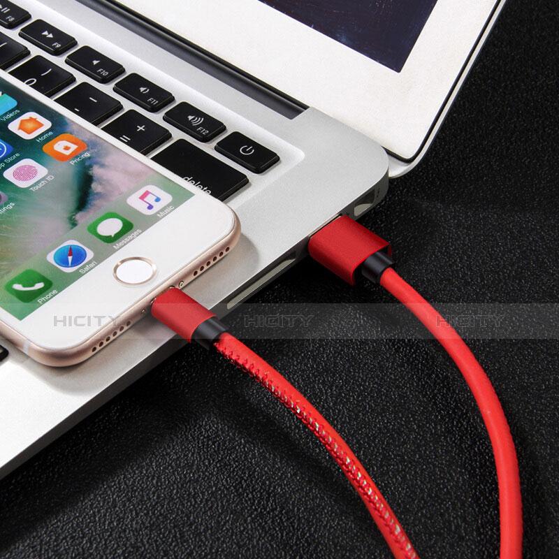 Cargador Cable USB Carga y Datos L11 para Apple iPhone 11 Pro Rojo