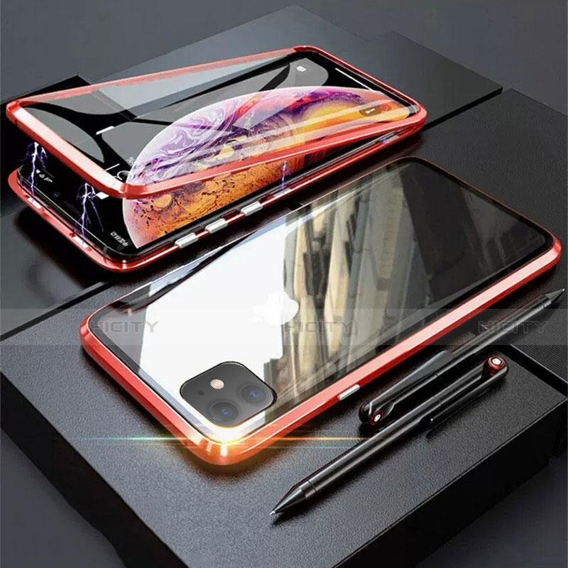 Funda Bumper Lujo Marco de Aluminio Espejo 360 Grados Carcasa M03 para Apple iPhone 11 Rojo