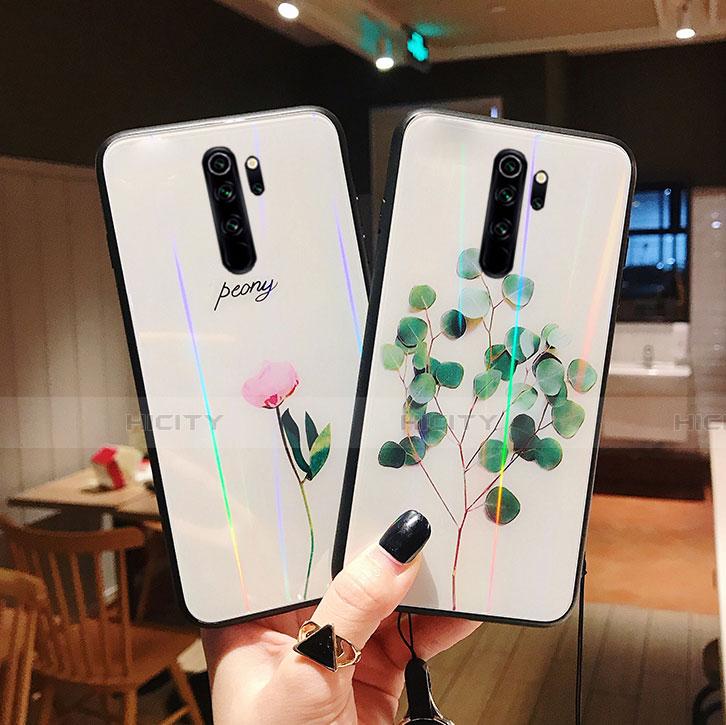 Funda Bumper Silicona Gel Espejo Flores Carcasa para Xiaomi Redmi Note 8 Pro