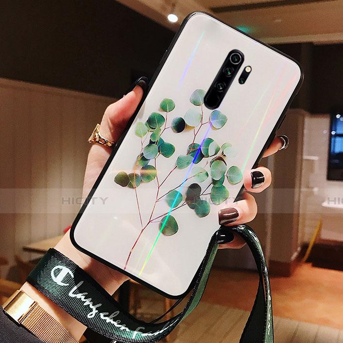 Funda Bumper Silicona Gel Espejo Flores Carcasa para Xiaomi Redmi Note 8 Pro Verde