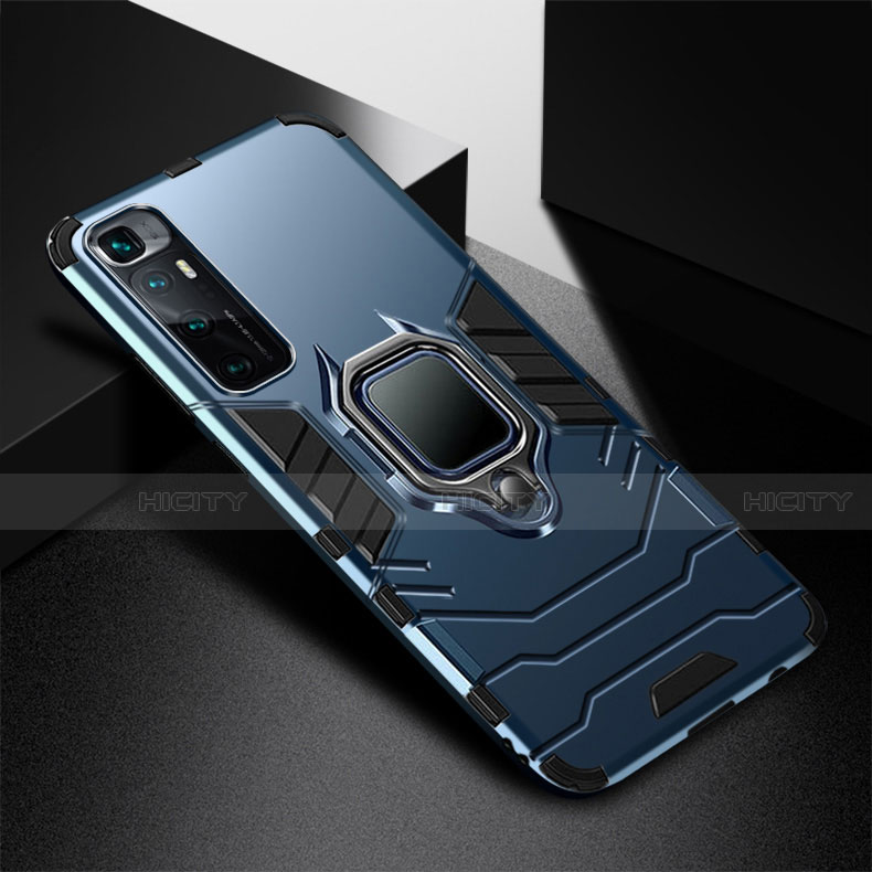 Funda Bumper Silicona y Plastico Mate Carcasa con Magnetico Anillo de dedo Soporte S01 para Xiaomi Mi 10 Ultra Azul