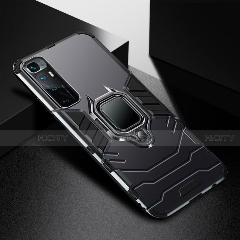 Funda Bumper Silicona y Plastico Mate Carcasa con Magnetico Anillo de dedo Soporte S01 para Xiaomi Mi 10 Ultra Negro