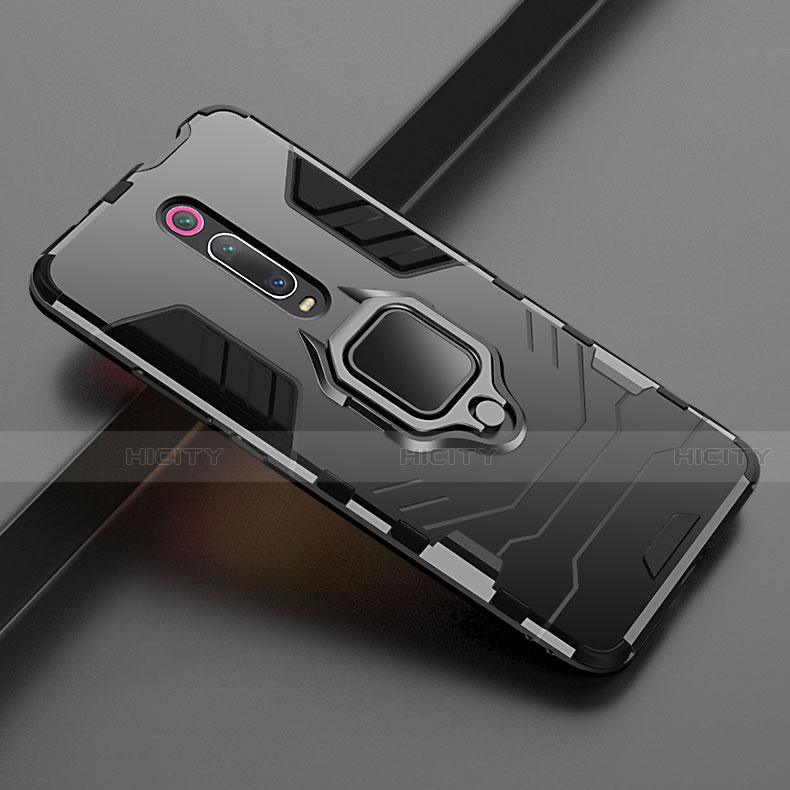 Funda Bumper Silicona y Plastico Mate Carcasa con Magnetico Soporte para Xiaomi Mi 9T Negro