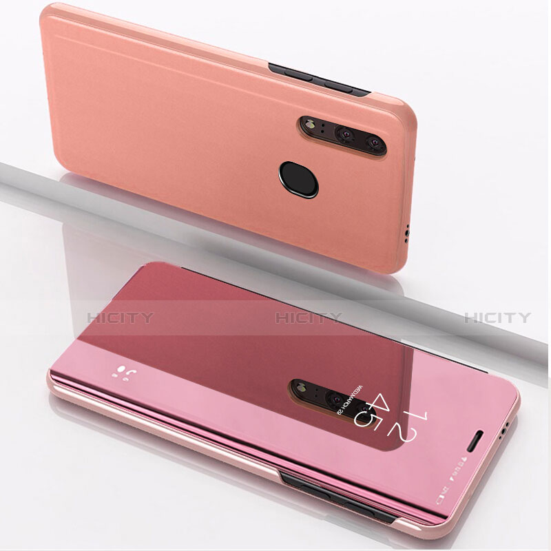Funda de Cuero Cartera con Soporte Espejo Carcasa para Huawei Honor 20 Lite Oro Rosa
