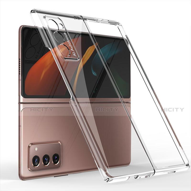 Funda Dura Plastico Rigida Carcasa Mate Frontal y Trasera 360 Grados para Samsung Galaxy Z Fold2 5G Claro