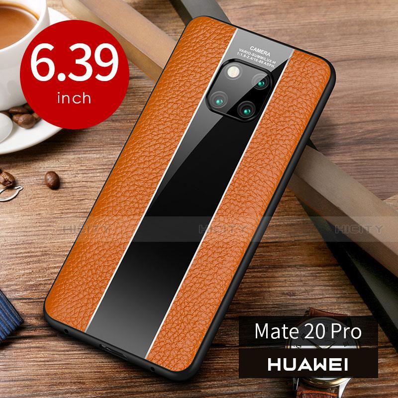 Funda Lujo Cuero Carcasa S01 para Huawei Mate 20 Pro Naranja