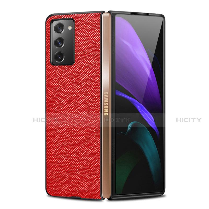 Funda Lujo Cuero Carcasa S01 para Samsung Galaxy Z Fold2 5G Rojo