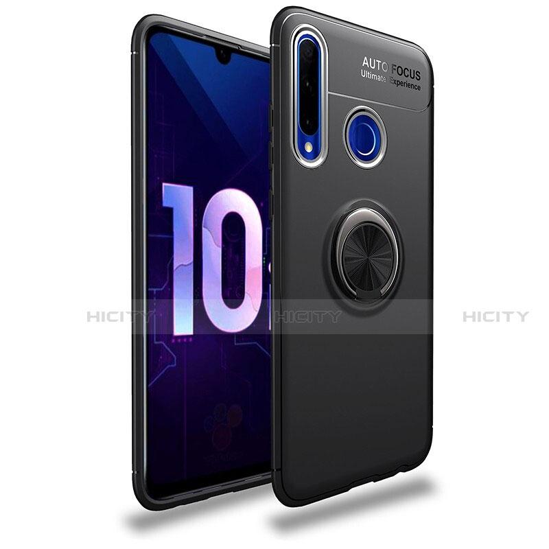 Funda Silicona Carcasa Ultrafina Goma con Magnetico Anillo de dedo Soporte A01 para Huawei Honor 20 Lite Negro
