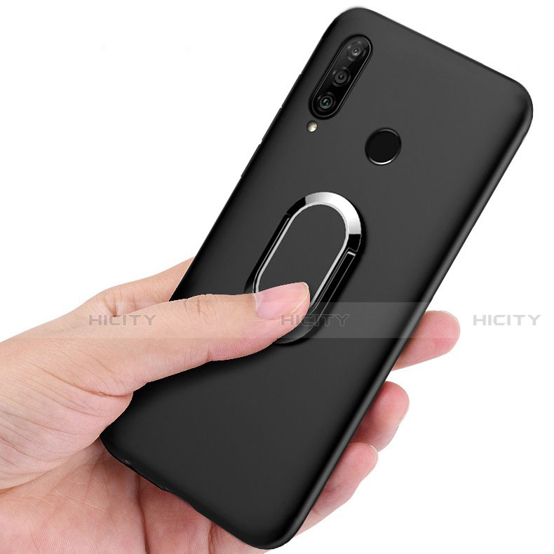 Funda Silicona Carcasa Ultrafina Goma con Magnetico Anillo de dedo Soporte para Huawei Honor 20 Lite