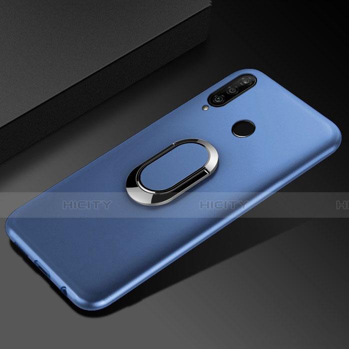 Funda Silicona Carcasa Ultrafina Goma con Magnetico Anillo de dedo Soporte para Huawei Honor 20 Lite Azul