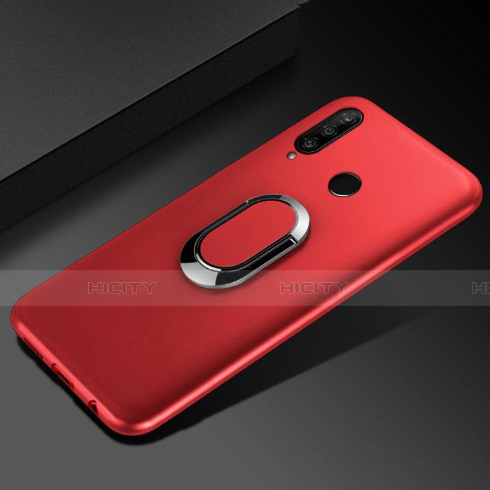 Funda Silicona Carcasa Ultrafina Goma con Magnetico Anillo de dedo Soporte para Huawei Honor 20 Lite Rojo