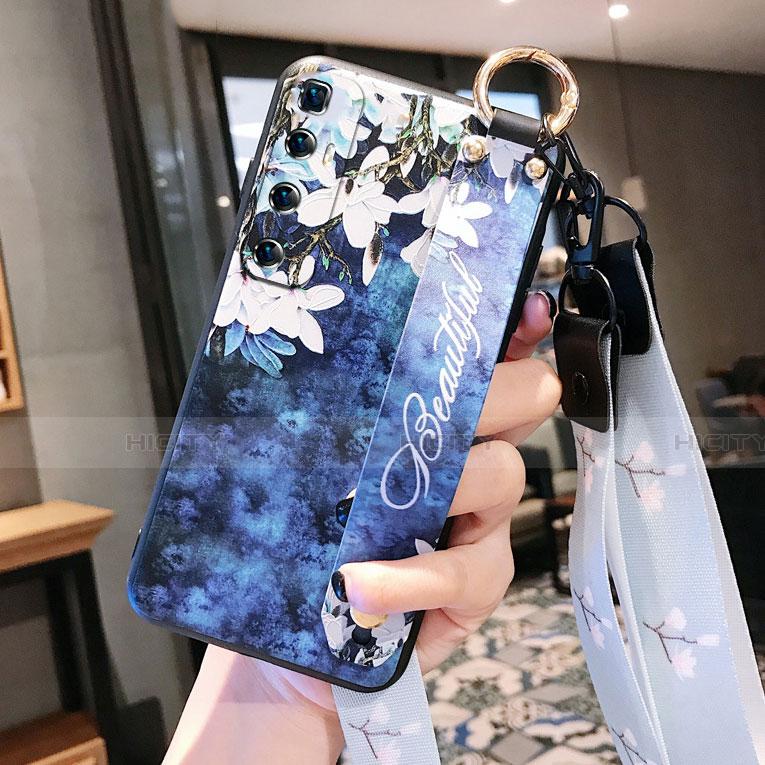 Funda Silicona Gel Goma Flores Carcasa para Xiaomi Mi 10 Ultra Azul Real