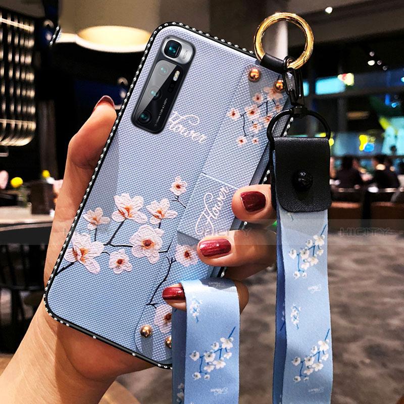 Funda Silicona Gel Goma Flores Carcasa S01 para Xiaomi Mi 10 Ultra Azul Claro