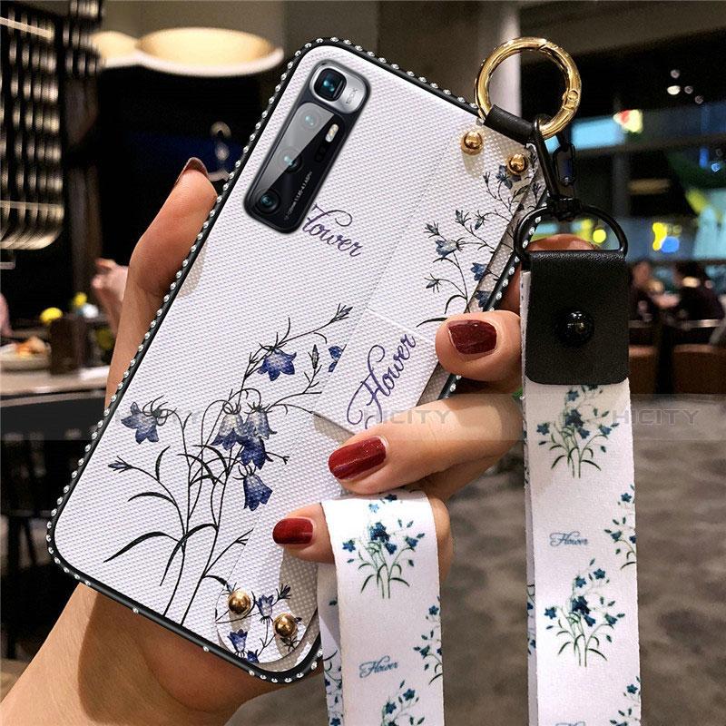 Funda Silicona Gel Goma Flores Carcasa S01 para Xiaomi Mi 10 Ultra Blanco