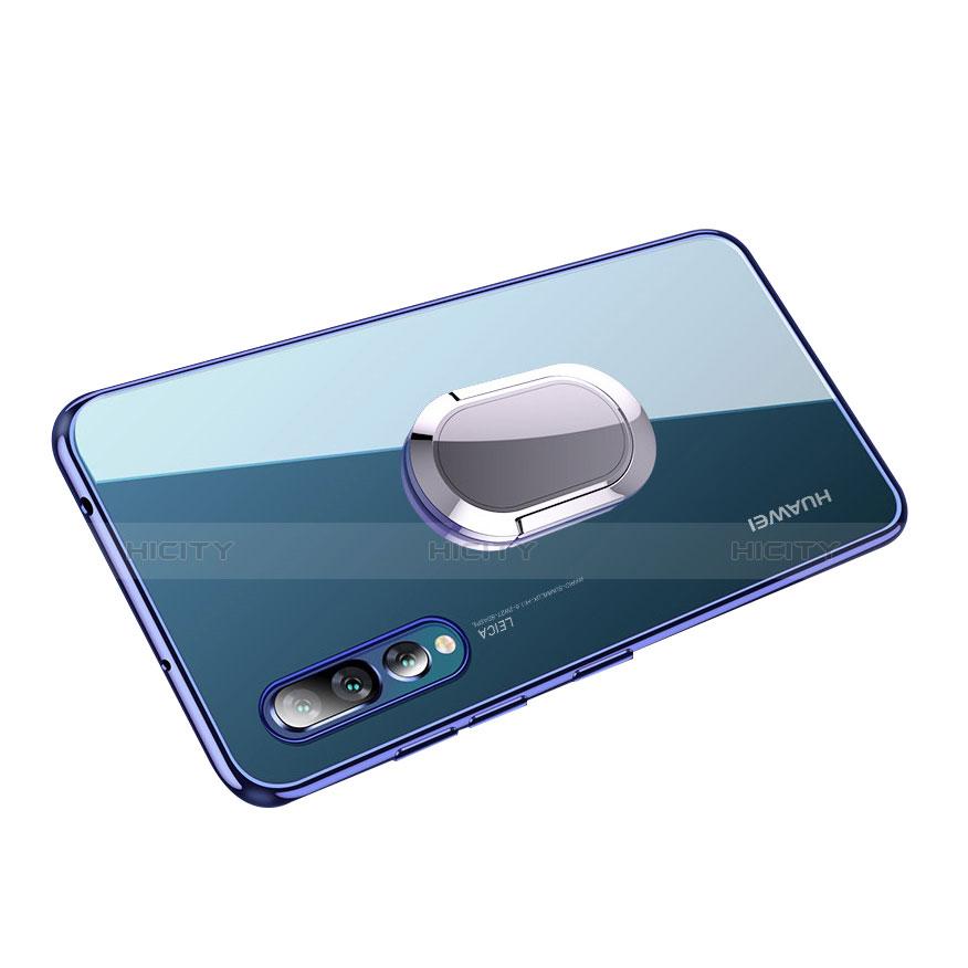 Funda Silicona Ultrafina Transparente con Anillo de dedo Soporte para Huawei P20 Pro Azul